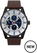 Police Police Stamford Silver Multi Dial Brown Leather Strap Gents Watch