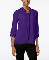 NY Collection Petite Contrast-Trim Blouse