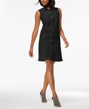 Style&Co. Style & Co Petite Frayed Denim Sleeveless Shirtdress, Created for Macy's