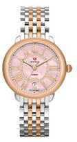 Michele Serein 16 Diamond, Pink Mother-Of-Pearl & Two-Tone Stainless Steel Bracelet Watch