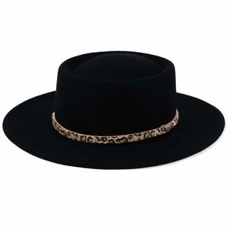 HIKARO Amazon Brand Womens 100% Wool Felt Hat Fedora Panama Hat Wide Brim Pork Pie Hat Winter Church Derby Party Hats Fashion Leopard