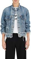 Icons Women's Distressed Denim Collarless Trucker Jacket