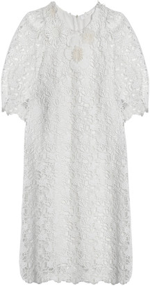 Chloé Floral-appliqued Cotton Guipure Lace Mini Dress