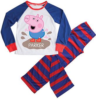 Peppa Pig TV's Toy Box Sleep Bottoms Blue & Red Personalized Pajama Set - Kids