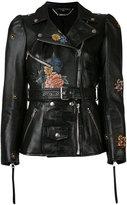 Alexander McQueen floral biker jacket - women - Silk/Lamb Skin - 40