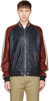 Diesel Red and Navy Leather L-truly Bomber Jacket