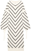 Zimmermann Maples Louche Chevron Wool And Cashmere-blend Midi Dress - Ivory
