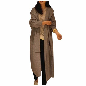 Lazzboy Women Cardigan Coat Knitted Hooded Casual Waterfall Collar Solid Loose Oversize Elegant Newchic Long Sweater Jacket Parka (M(14)