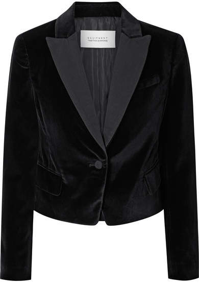 Equipment Tabitha Simmons Bourlet Faille-trimmed Cotton-velvet Blazer - Black