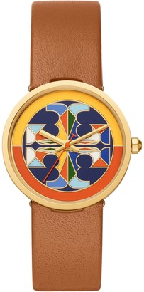 Tory Burch Reva Watch, Luggage Leather/Multi-Color, 36 Mm