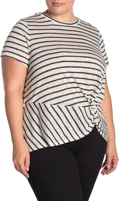 Bobeau Twist Front Short Sleeve Slub Top (Plus Size)