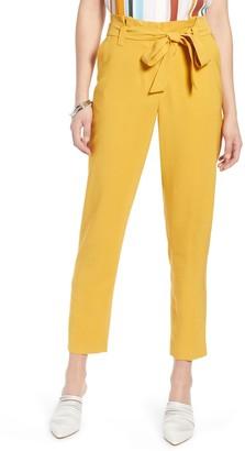 Halogen High Waist Tie Twill Pants (Plus Size)