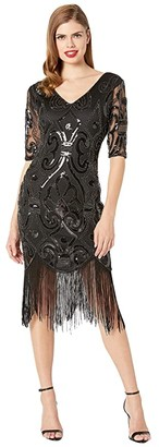 Unique Vintage 1920s Beaded Lynette Fringe Flapper Dress (Black) Women's Clothing