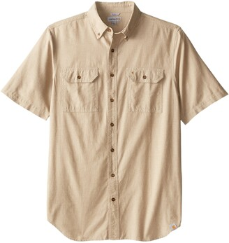 Carhartt Men's Big & Tall Fort Short Sleeve Shirt Lightweight Chambray Button Front