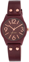 Nine West Women's Burgundy Imitation Leather Strap Watch 36mm NW-1932RDRG