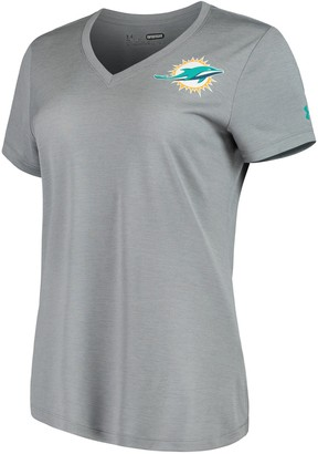 Under Armour Women's Heathered Gray Miami Dolphins Combine Authentic Novelty Performance V-Neck T-Shirt