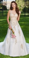 Camille La Vie Metallic Applique Illusion Wedding Dress
