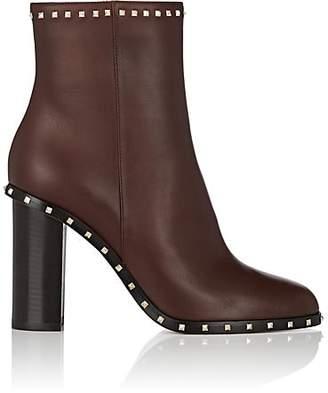 Valentino Garavani Women's Rockstud Leather Ankle Boots - Camel