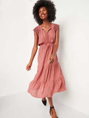 Old Navy Waist-Defined Crochet-Sleeve Tie-Neck Midi Dress for Women