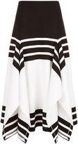 Rosetta Getty White Striped Scarf Hem Skirt