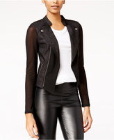 Material Girl Juniors' Illusion Shimmer Moto Jacket, Only at Macy's