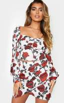 PrettyLittleThing Nude Floral Print Woven Square Neck Puff Sleeve Crop Top