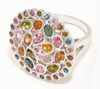 Sterling Silver Multi Color Tourmaline 3.20 cttw Ring