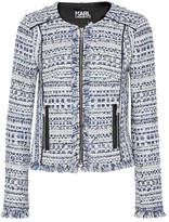 Karl Lagerfeld Satin-trimmed Fringed Metallic Tweed Jacket - Blue