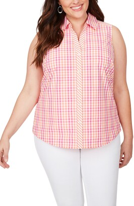 Foxcroft Elisa Spring Gingham Sleeveless Shirt