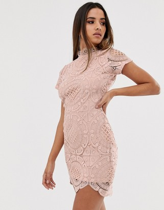Girl In Mind lace high neck short sleeve mini dress