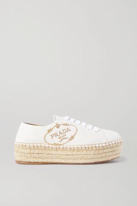 Prada Logo-embroidered Leather Platform Espadrilles - White