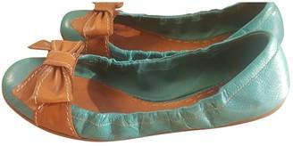 Prada Turquoise Leather Ballet flats