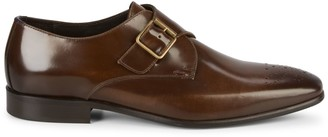 Bruno Magli Leather Brogue Monk-Strap Dress Shoes