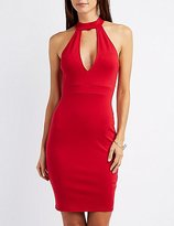 Charlotte Russe Mock Neck Cut-Out Bodycon Dress