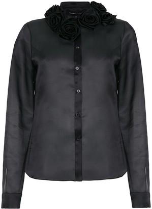 Gloria Coelho Flower Applique Silk Shirt