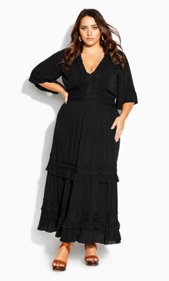 City Chic Dress Endless Lace Maxi Dress - black