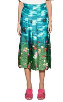 Gucci Light Blue/green Snake Silk Skirt
