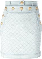 Balmain quilted denim mini skirt