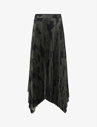 AllSaints Lerin camo-printed pleated midi skirt