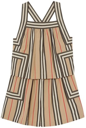 Burberry Striped Cotton Poplin Jumpsuit