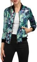 Allegra K Women's Long Sleeve Stand Collar Zip Up Floral Bomber Jacket L