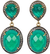 Sterling Silver & Gold Plated Sterling Silver Green Onyx Double Drop Earrings