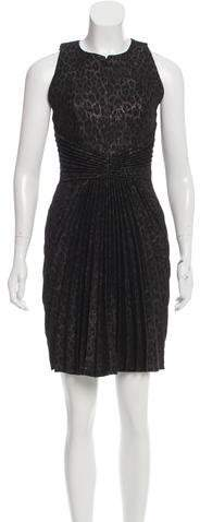Andrew Gn Leopard Metallic-Accented Knit Dress