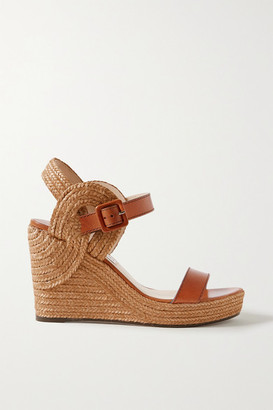 Jimmy Choo Delphi 100 Leather And Jute Espadrille Wedge Sandals - Light brown