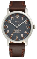 Timex 'Waterbury' Leather Strap Watch, 40mm