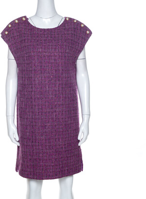 Chanel Purple Metallic Tweed Tunic Dress M