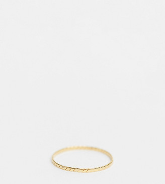 Asos Design DESIGN sterling silver with gold plate ring in fine flat etched design