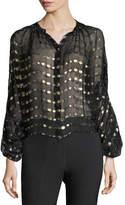 Etro Blouson-Sleeves Sheer Georgette Blouse w/ Metallic Dots