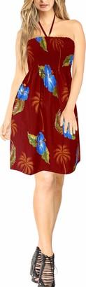 LA LEELA 3 in 1 Halterneck Beachwear Maxi Dress Cover up Top Bridesmaid Skirt Blood Red