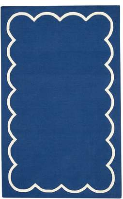 Pottery Barn Teen Scallop Border Rug, 5'x8', Navy